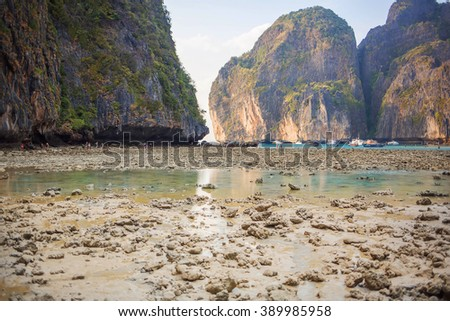 An ebb in gorgeous Maya bay, Phi-Phi, Thailand. Image with selective focus and toning - stock photo