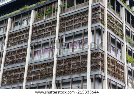 An Ecological Building Walls Covered by Organic Plants. - stock photo