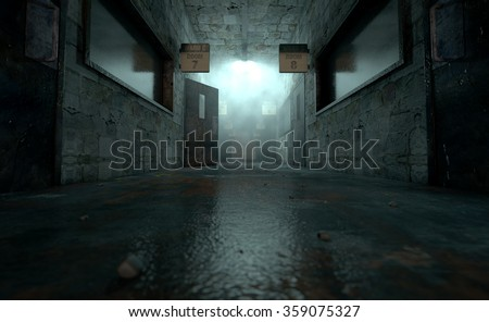 An eerie haunted look down the dimly lit passage of a dilapidated mental asylum with rooms and signs