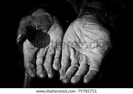 An elderly farm workers hands showing years of hard work. - stock photo