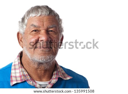 An elderly male appears relaxed and happy to grow old. - stock photo