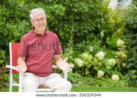 An elderly man is asking you - stock photo