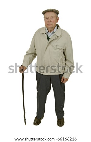 An elderly man walking stick isolated on white. - stock photo