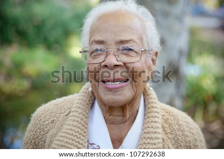 An elderly women smiling - stock photo