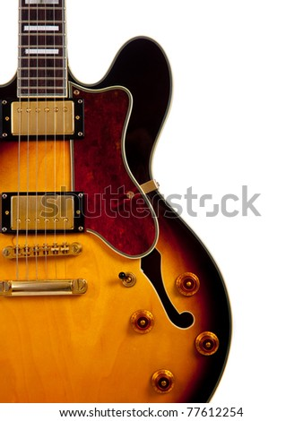 An electric guitar on a white background - stock photo