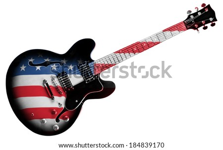 An Electric Guitar with American Flag Isolated on a White Background  - stock photo