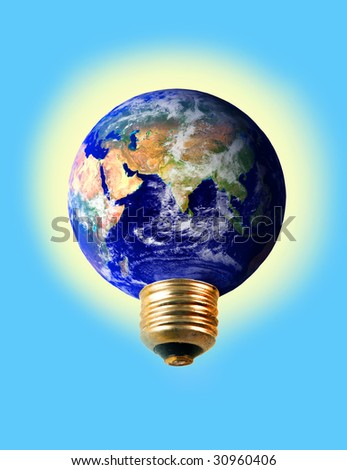 an electrical earth  lightbulb glowing symbolizing environmental concerns and ecology