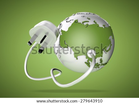 An electricity cable and plug connects to Asia on world map. Concept for how users in Asia, India and China consume and rely on energy and power supply. - stock photo