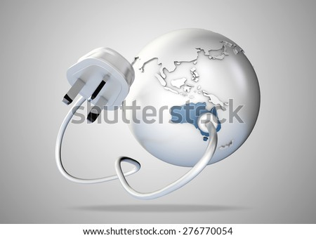 An electricity cable and plug connects to Australia on world globe. Concept for power and electricity usage in australia. - stock photo