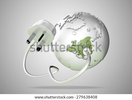 An electricity wire and plug connects to Europe on world globe. Concept for how users in Europe use and rely on energy, power and electricity.