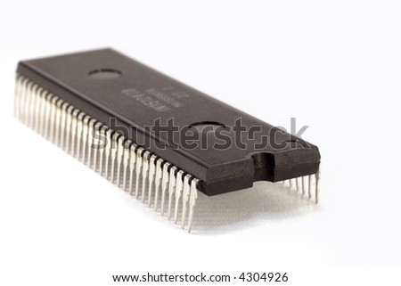 An electronic microprocessor, isolated on a white background.
