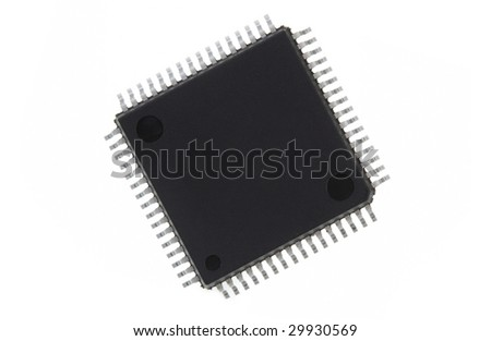 An electronic processor, isolated on a white background. Space for copy on surface.
