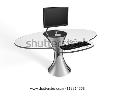 An elegant and futuristic computer desk in glass and steel. - stock photo