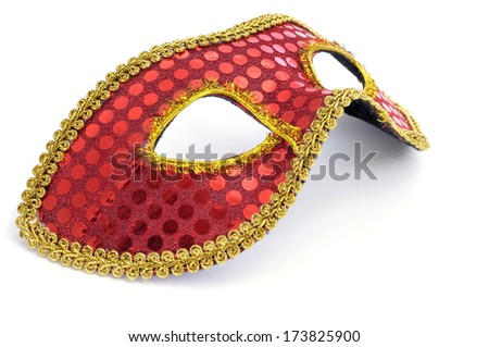 an elegant red and golden carnival mask on a white background - stock photo