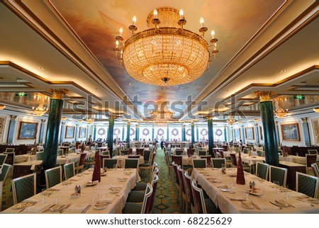 An elegant Russian inspired dining hall. - stock photo