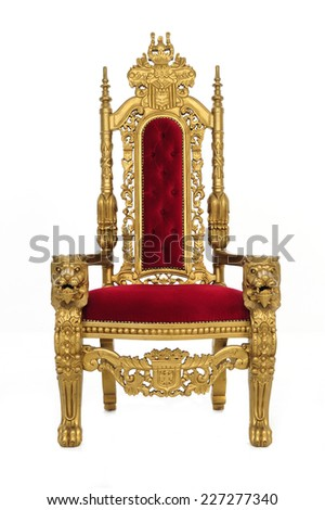 an elegant throne / with gold carvings and whatnot / includes clipping path - stock photo