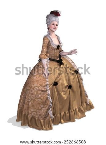 An elegent lady wearing an 18th century Rococo style gown - 3d render. - stock photo