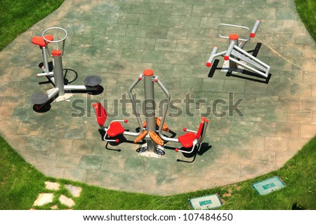 an elevated view of gymnastic apparatus in the park - stock photo