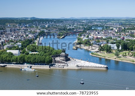 An elevated view of Koblenz and the German Corner (Deutsches Eck) where the rivers Rhine and Mosel meet. - stock photo