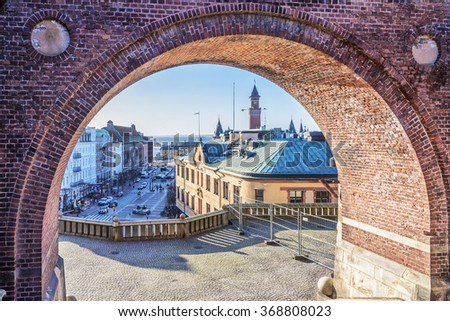 An elevated view through an archway of the swedish city of Helsingborg.