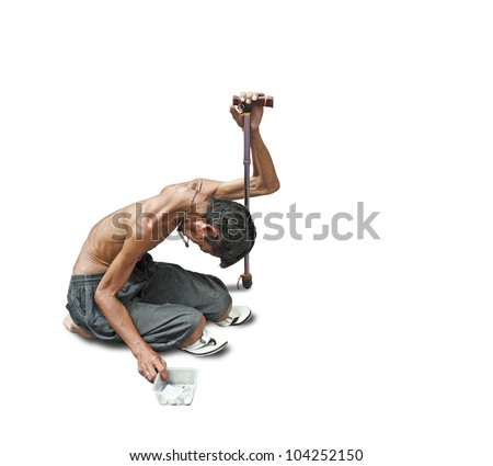 An emaciated heavily sun tan homeless beggar isolated against white. - stock photo