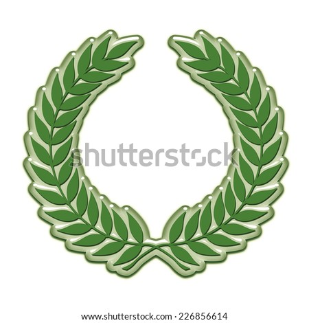 An embossed laurel wreath symbol in green - stock photo