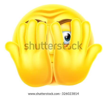An emoticon emoji looking very scared hiding behind his hands - stock photo