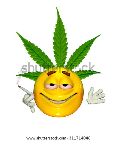 An emoticon enjoys smoking cannabis - 3d render with digital painting. - stock photo