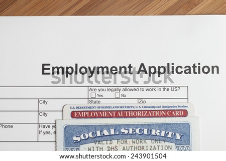 An Employment Application ready to be fill.