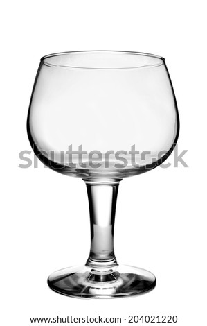 an empty balloon glass on a white background - stock photo