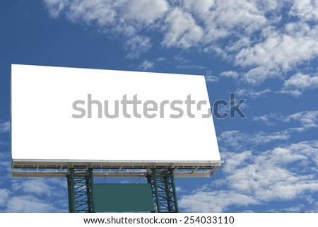 An empty banner on blue sky with cloud