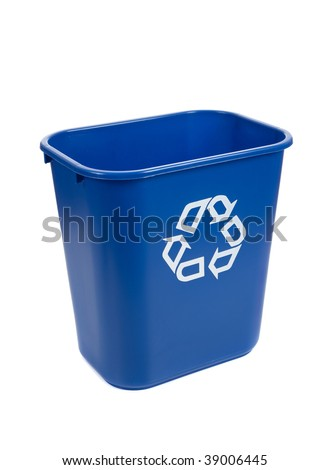 An empty blue recycle bin on a background - stock photo