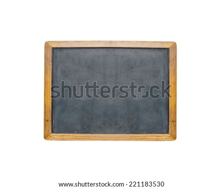 An empty chalk board over white background