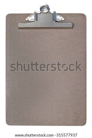An empty clipboard isolated on white.