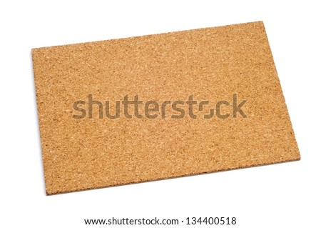 an empty cork board on a white background