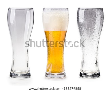 An empty cup, a cup of beer, an empty glass cup with water on white background