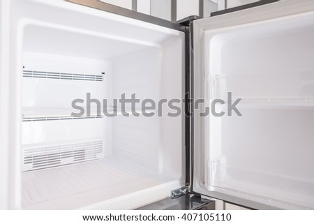 An empty freezer of a refrigerator - stock photo