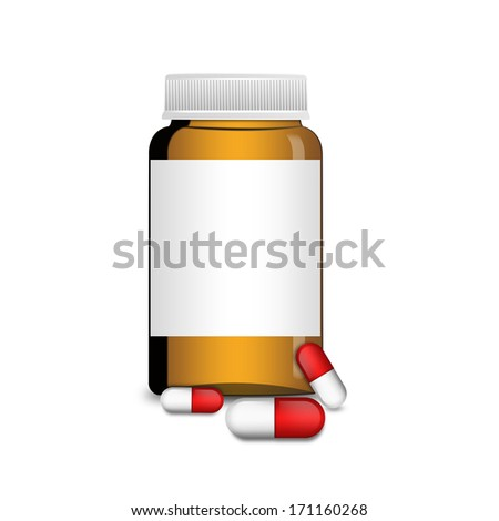 An empty glass bottle with capsules , illustration - stock photo