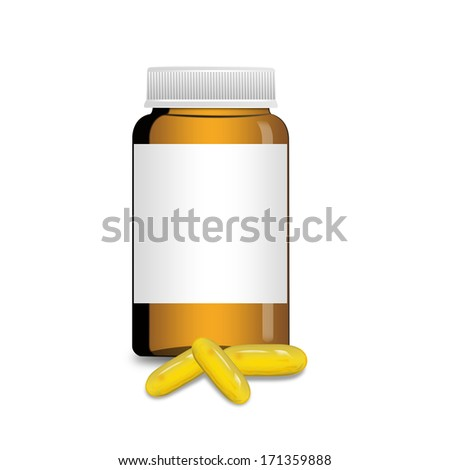 An empty glass bottle with Omega 3 capsules from Fish Oil , illustration - stock photo