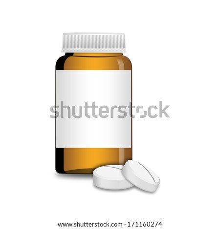 An empty glass bottle with pills , illustration - stock photo