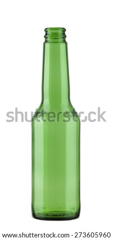 An empty green beer bottle isolated on white - stock photo