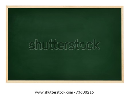 An empty, green chalkboard isolated on white