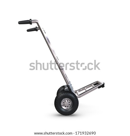 An empty Hand-Truck tilted on white background. - stock photo