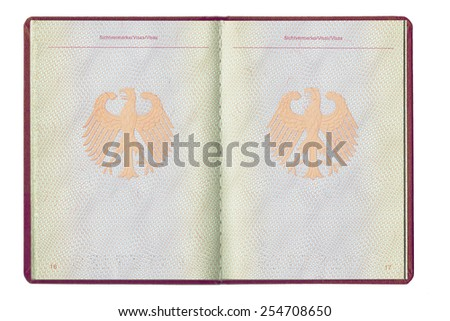 An empty inside page of a German passport, full open, blank for visa, isolated on white background, closeup - stock photo