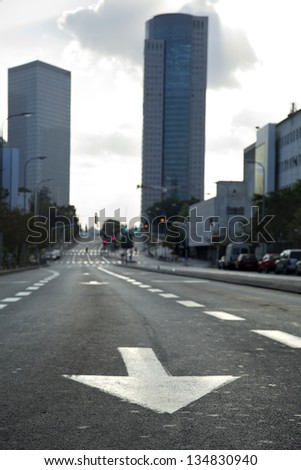 An empty main street in Tel-Aviv at the early hours of the morning. - stock photo