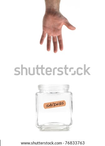 An empty money jar isolated against a white background - stock photo