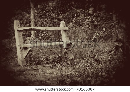 An empty park bench amidst trees and leaves in autumn in a vintage, sepia style. - stock photo