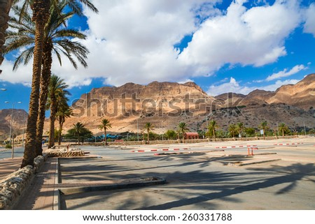 An empty parking lot at the Dead Sea. Israel. - stock photo