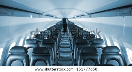 an empty passenger airliner - stock photo