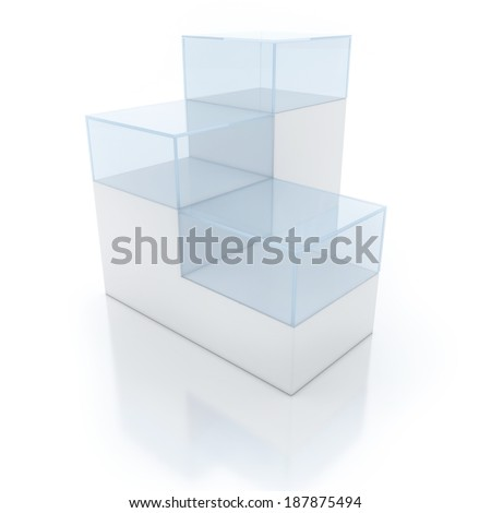 An empty podium interior view, 3D Empty glass boxes for exhibit  - stock photo